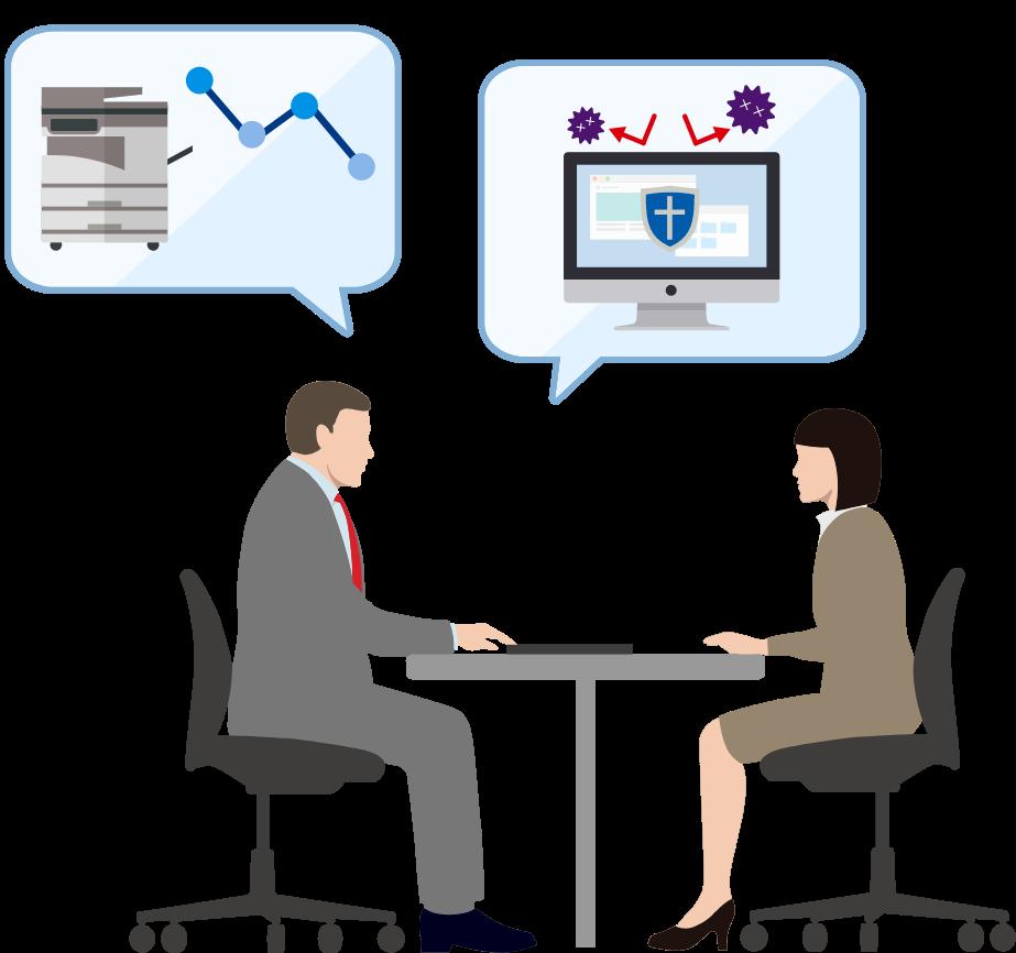 プリンターのランニングコスト削減から、オフィスのセキュリティ改善まで、快適なオフィスづくりに関する様々なご提案が可能です。